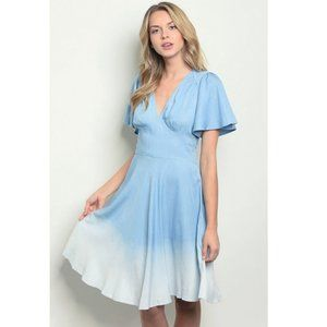 """""""Dip"""" Blue Chambray Ombre Fit & Flare Midi Dress"""